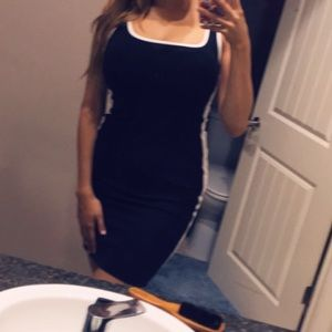 Bodycon Dress in Black with White Side Stripe